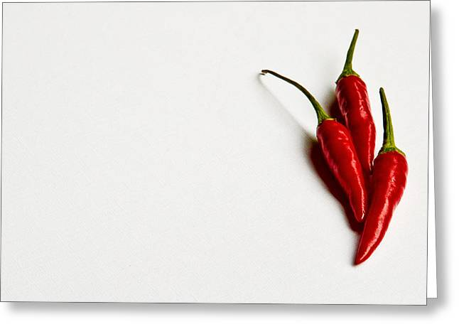 Getty Greeting Cards - Three Chillies  Greeting Card by Constance Fein Harding
