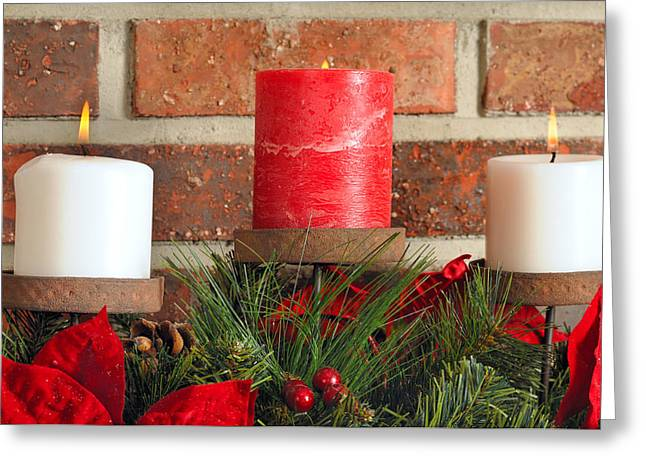 Three Christmas candles Greeting Card by Kenneth Sponsler