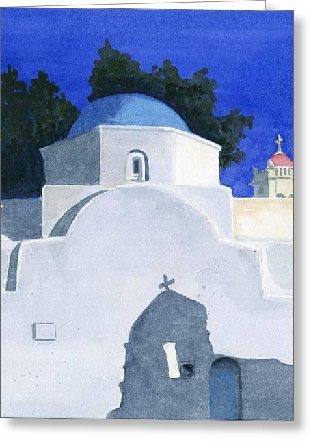 Adobe Greeting Cards - Three Churches on Mykonos Greeting Card by Marsha Elliott