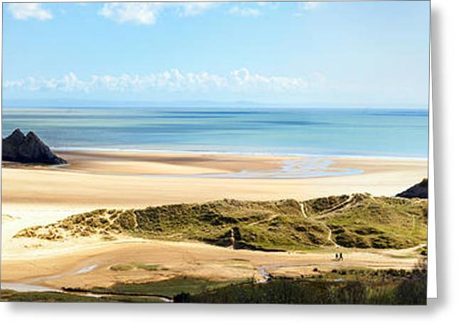 Blue Green Water Greeting Cards - Three Cliffs Bay Greeting Card by Paul Cowan