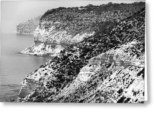 Gallery Three Greeting Cards - Three Cliffs in Cyprus - black and white Greeting Card by John Rizzuto