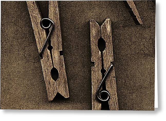 Three Clothes Pins Greeting Card by Bob RL Evans