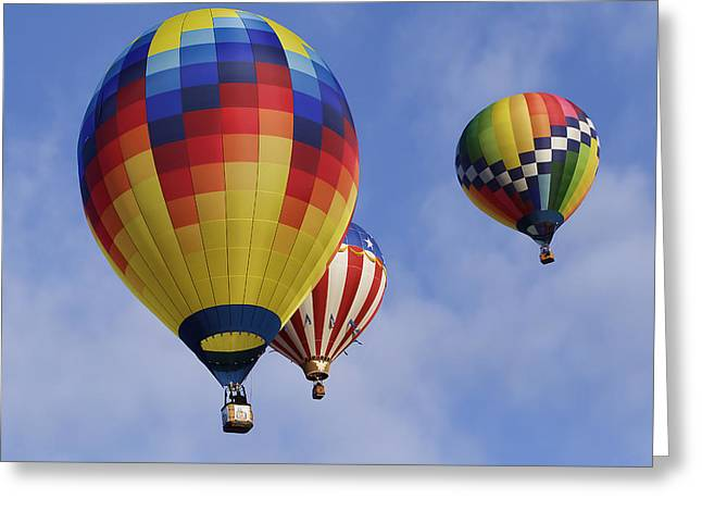 Three Hot Air Balloons Greeting Cards - Three Colorful Balloons W3351 Greeting Card by Wes and Dotty Weber