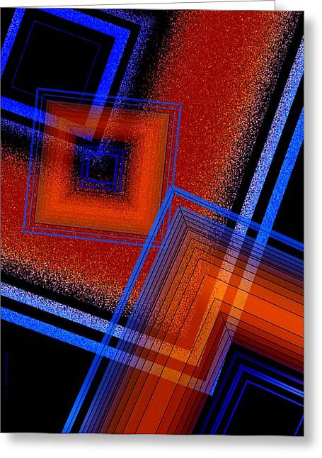 Transparency Geometric Greeting Cards - Three Colors and Lines Greeting Card by Mario  Perez