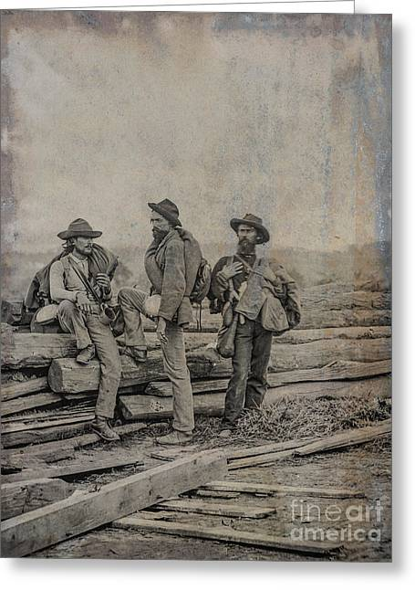 Army Of Northern Virgina Greeting Cards - Three Confederate Prisoners Gettysburg Greeting Card by Randy Steele