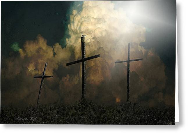 Crucify Digital Art Greeting Cards - Three Crosses and a Dove Greeting Card by Karen Slagle