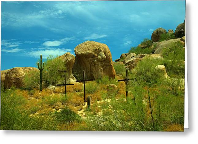 Three Crosses In The Boulders In Arizona Greeting Card by Richard Jenkins