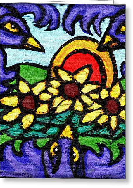 Fun Reliefs Greeting Cards - Three Crows and Sunflowers Greeting Card by Genevieve Esson