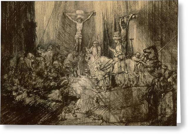 Son Of God Drawings Greeting Cards - Three Crucifixes Greeting Card by Rembrandt Harmenszoon van Rijn