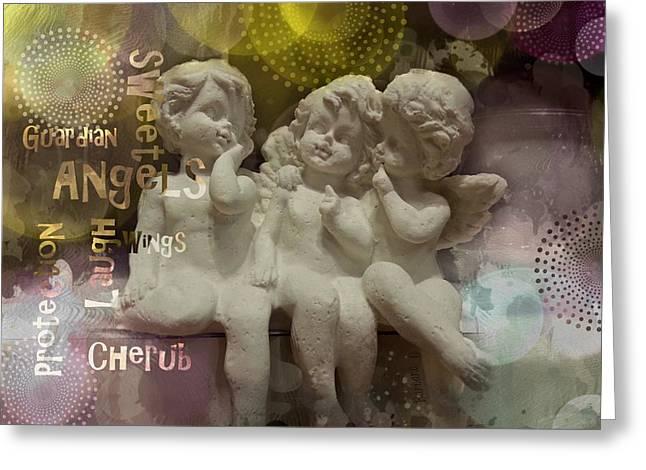 Barbara Orenya Greeting Cards - Three cute Angels Greeting Card by Barbara Orenya