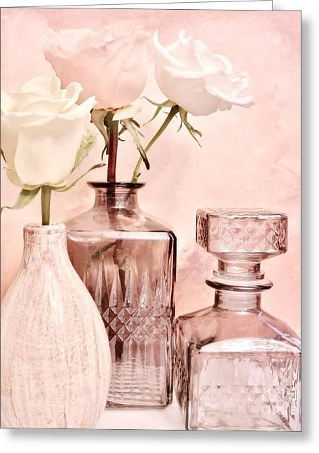 Decanters Digital Art Greeting Cards - Three Dainty Roses Greeting Card by Marsha Heiken