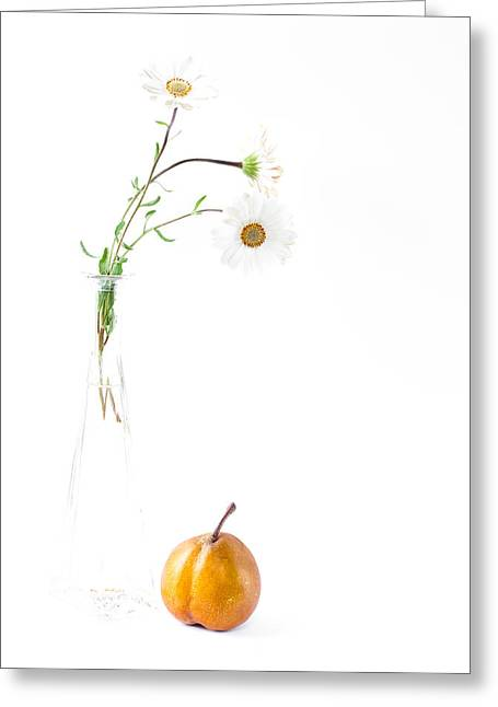 Pear Art Greeting Cards - Three Daisies And A Pear Greeting Card by Constance Fein Harding