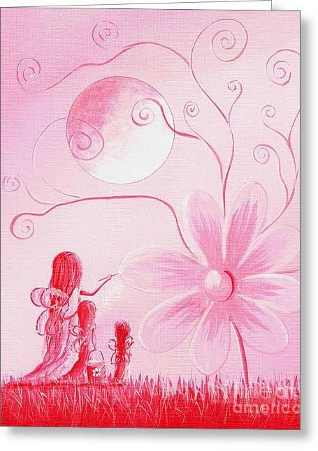 Flower Pink Fairy Child Greeting Cards - Three Daisy Fairies by Shawna Erback Greeting Card by Shawna Erback