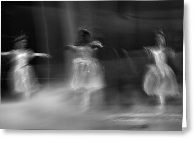 Abstract Movement Greeting Cards - Three Dancers Greeting Card by Francois Loubser