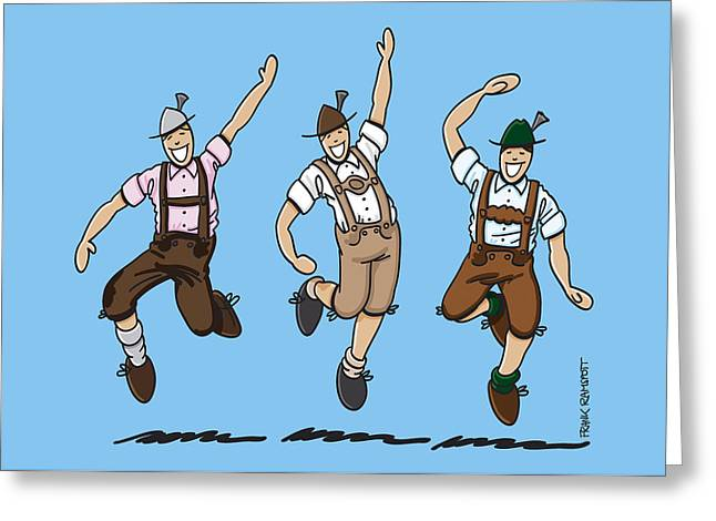 Three Dancing Oktoberfest Lederhosen Men Greeting Card by Frank Ramspott