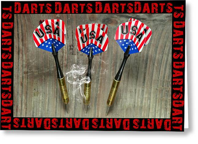 Dartboard Greeting Cards - Three darts Greeting Card by Toppart Sweden