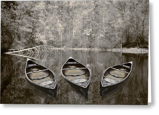 Canoe Greeting Cards - Three Greeting Card by Debra and Dave Vanderlaan