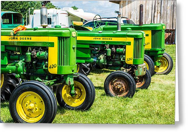 620 Greeting Cards - Three Deere in a Row Greeting Card by Sherman Perry