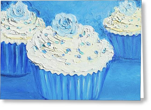 Modern Canvas Art Photo Greeting Cards - Three delicious cupcakes in a blue kitchen Greeting Card by Jan Matson