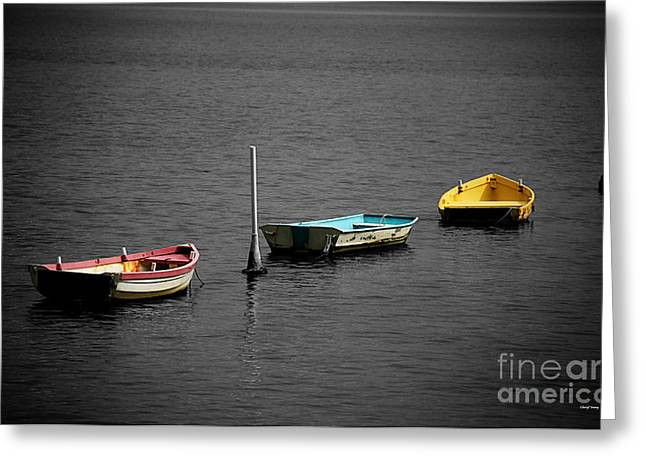 Small Fishing Village Greeting Cards - Three Dinghys Greeting Card by Cheryl Young