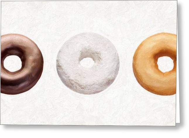 Donuts Paintings Greeting Cards - Three Donuts  Greeting Card by Danny Smythe