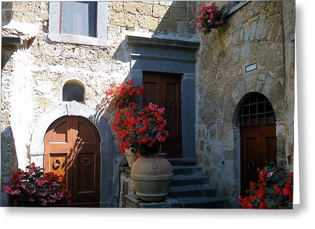 Stone Flower Planter Greeting Cards - Three Doors in Bagnoregio Greeting Card by Barbie Corbett-Newmin