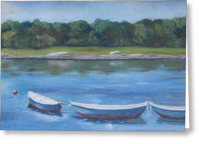 Maine Pastels Greeting Cards - Three Dories Greeting Card by Carol Corliss