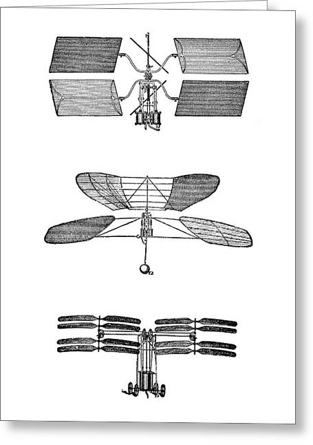 Three Early Helicopter Designs Greeting Card by Science Photo Library