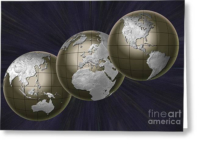 Planet Earth Greeting Cards - Three Earths Greeting Card by Mike Agliolo