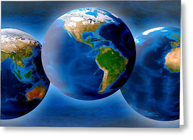 Global Communications Greeting Cards - Three Earths Greeting Card by Panoramic Images