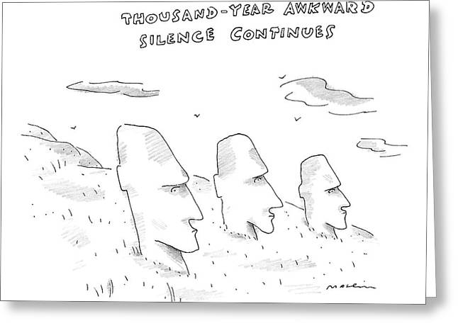 Three Easter Island Heads Are Show Greeting Card by Michael Maslin