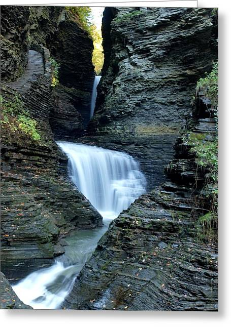 Joshua House Greeting Cards - Three Falls in Watkins Glen Greeting Card by Joshua House