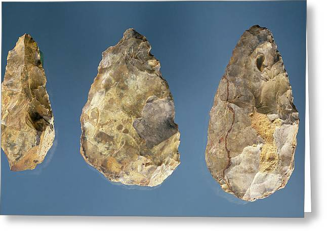 Palaeolithic Greeting Cards - Three Flint Tools Stone Greeting Card by Paleolithic