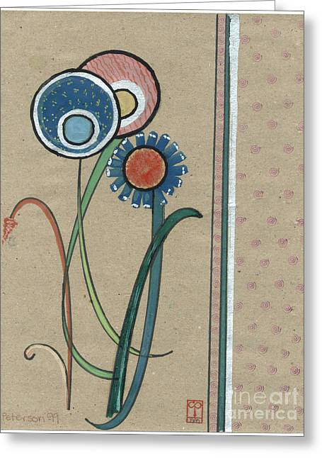 Book Cover Art Drawings Greeting Cards - Three Flowers Motif for a Book Cover. 1999 Greeting Card by Cathy Peterson