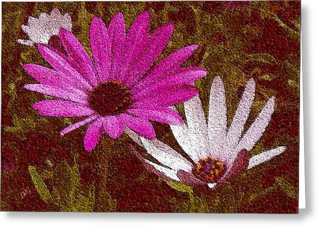 Pink And Lavender Greeting Cards - Three Flowers On Maroon Greeting Card by Ben and Raisa Gertsberg