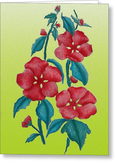 Roses Tapestries - Textiles Greeting Cards - Three Flowers Greeting Card by Phongsri Smeaton