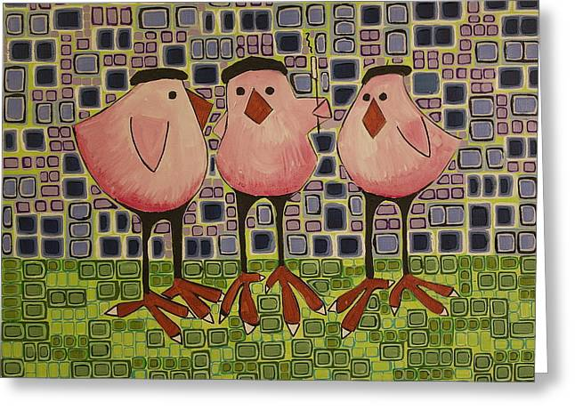 12 Days Of Christmas Greeting Cards - Three French Hens Greeting Card by Donna Howard