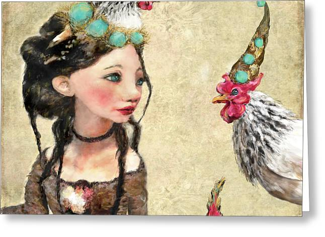 12 Days Of Christmas Greeting Cards - Three French Hens Greeting Card by Kimberly Potts