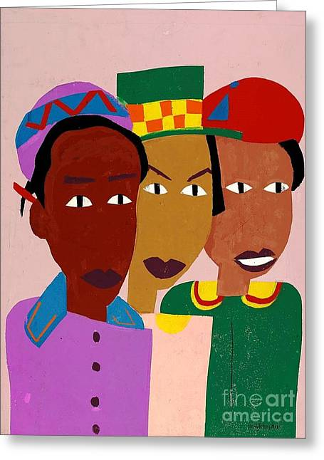 Three Friends Greeting Card by Pg Reproductions