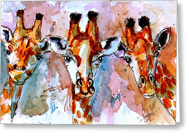 Natural Beauty Paintings Greeting Cards - Three friends Greeting Card by Steven Ponsford