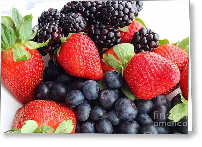 Tangy Photographs Greeting Cards - Three Fruit Closeup - Strawberries - Blueberries - Blackberries Greeting Card by Barbara Griffin