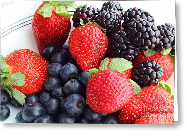 Strawberry Bunch Greeting Cards - Three Fruit - Strawberries - Blueberries - Blackberries Greeting Card by Barbara Griffin