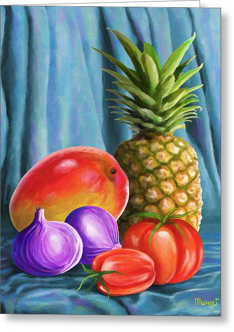 Mango Greeting Cards - Three fruits and a vegetable Greeting Card by Anthony Mwangi