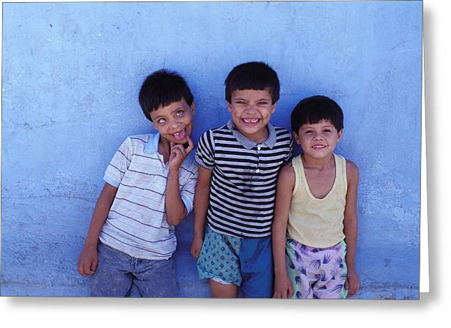 Senseless Greeting Cards - Three Funny Boys Greeting Card by Mark Goebel