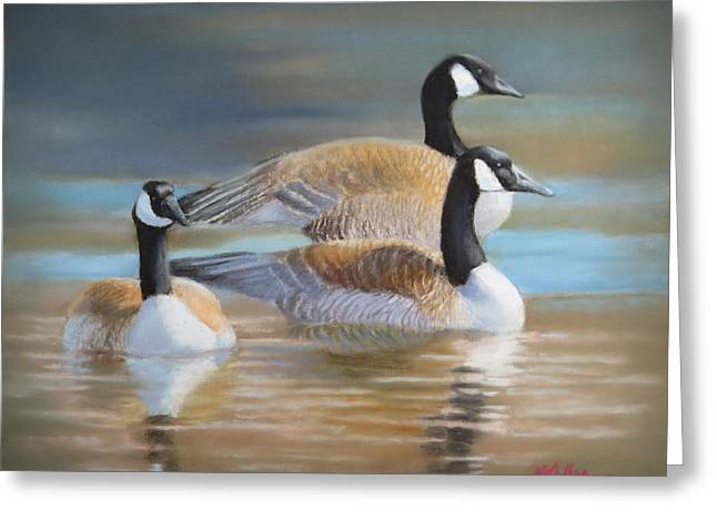 Geese Pastels Greeting Cards - Three Geese Greeting Card by Marcus Moller