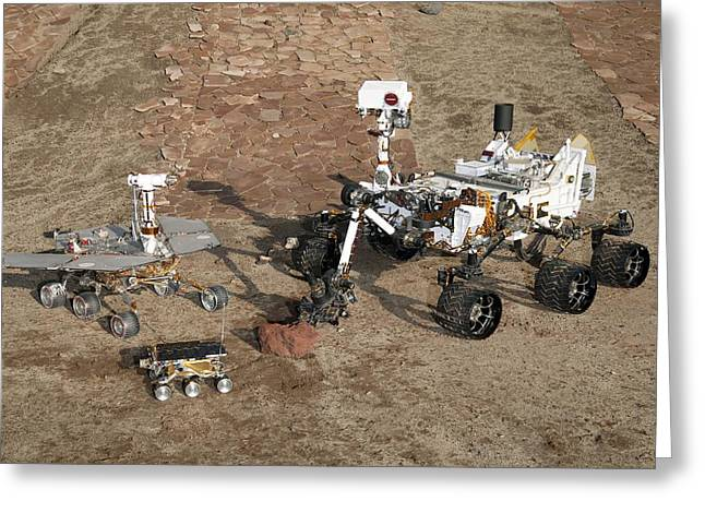 Pathfinder Greeting Cards - Three generations of Mars rovers Greeting Card by Science Photo Library