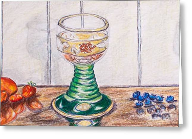 Blueberry Drawings Greeting Cards - Three German Glasses Tomatoes and Blueberries  Greeting Card by Susanne Hastings