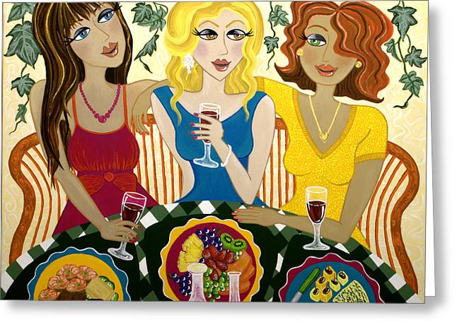 Sandwich Paintings Greeting Cards - Three Girlfriends Celebrate Greeting Card by Lisa Frances Judd