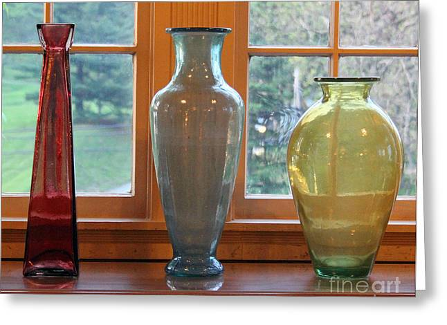 Antique Glass Greeting Cards - Three Glass Vases in a Window Greeting Card by Karen Adams
