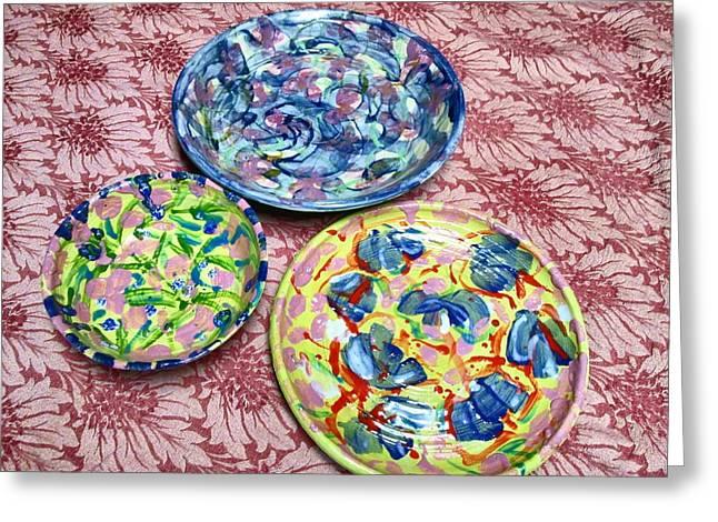 Three Ceramics Greeting Cards - Three Glazed Plates Greeting Card by Martha Nelson